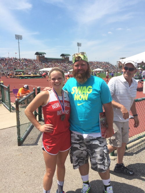 Former player of mine Amanda Crites from Northwest after placing at State in the 4x1.